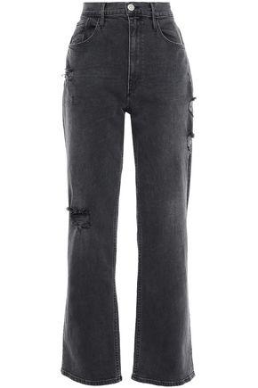 3x1 Distressed high-rise straight-leg jeans