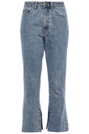 KSUBI Faded high-rise kick-flare jeans