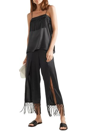 Cami Nyc Pants CAMI NYC WOMAN THE MAX MACRAMÉ-TRIMMED SILK-CHARMEUSE WIDE-LEG PANTS BLACK