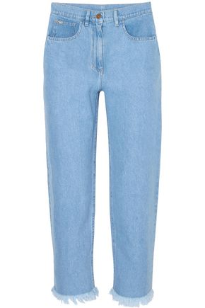 NANUSHKA Rupawa frayed high-rise straight-leg jeans