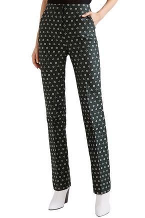 ALEXACHUNG Floral-jacquard flared pants