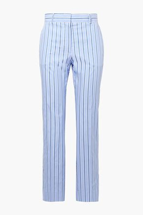 VICTORIA, VICTORIA BECKHAM Cropped striped cotton straight-leg pants