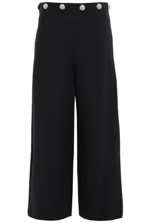TORY BURCH Fremont crystal-embellished twill wide-leg pants