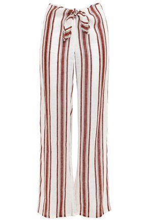 TORY BURCH Kellen striped linen-gauze wide-leg pants