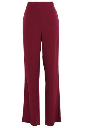 TORY BURCH Satin-trimmed crepe wide-leg pants
