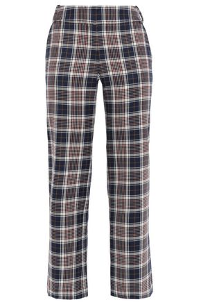 TORY BURCH Cropped checked jacquard straight-leg pants