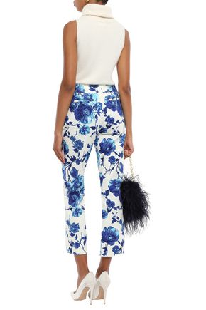 TORY BURCH Cropped cotton-twill straight-leg pants