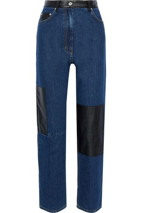 McQ Alexander McQueen Leather-paneled high-rise straight-leg jeans