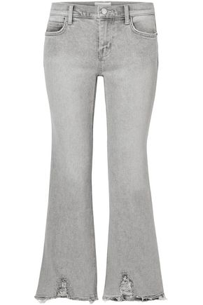 CURRENT/ELLIOTT Cropped distressed mid-rise kick-flare jeans