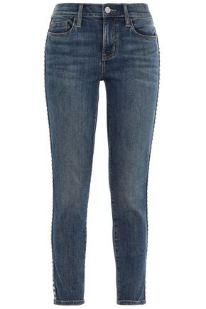 CURRENT/ELLIOTT Studded mid-rise skinny jeans