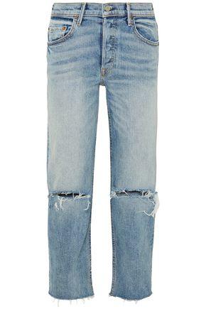 GRLFRND Helena distressed high-rise straight-leg jeans