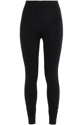 N.PEAL Mélange cashmere and silk-blend leggings
