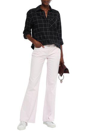Current Elliott Current/elliott Woman Mid-rise Flared Jeans Pastel Pink