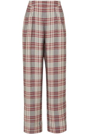 MARKUS LUPFER Molly checked crepe wide-leg pants