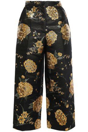 DOLCE & GABBANA Cropped metallic floral-jacquard wide-leg pants