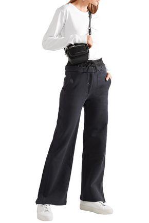 Tibi Woman Shell-Paneled Cotton-Fleece Track Pants Midnight Blue