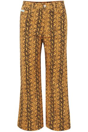 ALEXACHUNG Cropped snake-print high-rise wide-leg jeans
