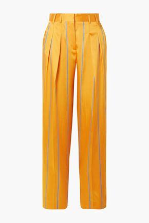 VICTORIA, VICTORIA BECKHAM Pleated striped satin-twill wide-leg pants