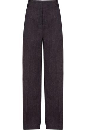 VICTORIA, VICTORIA BECKHAM Cotton and linen-blend wide-leg pants