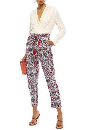 ANTIK BATIK Belted cotton-jacquard tapered pants