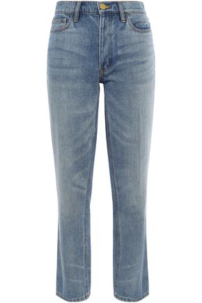 TORY BURCH Embroidered faded mid-rise straight-leg jeans
