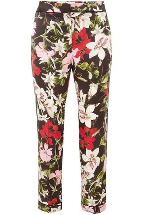 ERDEM Ginnie cropped floral-print silk-satin tapered pants