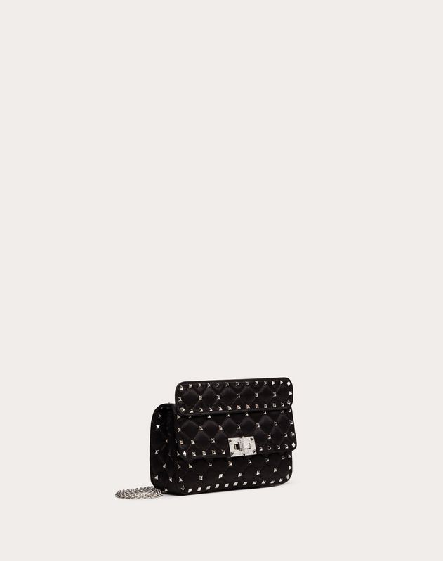Small Spike.It Satin Chain Bag with Rhinestone Closure