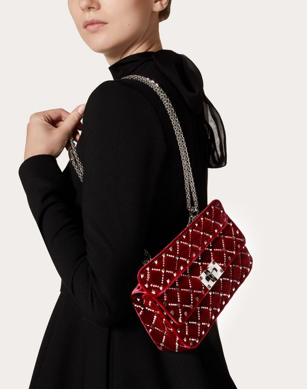 Borsa Piccola con Catena Spike.It in Velluto con Trama a Rombi con Strass