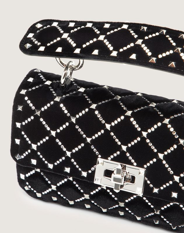 Small Spike.It Velvet Chain Bag with Rhinestone-Embellished Rhombus Quilting