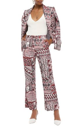 STELLA JEAN Printed brushed-canvas flared pants