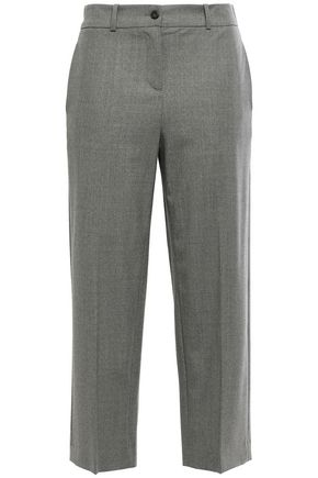 STELLA JEAN Cropped stretch-wool straight-leg pants