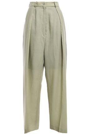 NINA RICCI Pleated wool wide-leg pants