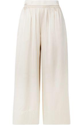 THEORY Shirred silk-satin culottes