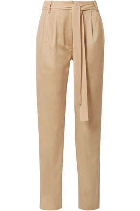 GREY JASON WU Belted cotton-blend twill tapered pants