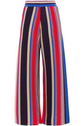 STELLA JEAN Metallic striped wool-blend wide-leg pants