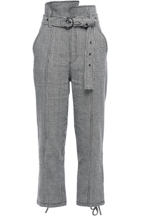 MARISSA WEBB Belted Prince of Wales checked linen and cotton-blend straight-leg pants