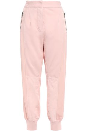 HAIDER ACKERMANN Paneled satin-twill and French cotton-terry track pants