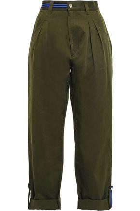 ÊTRE CÉCILE Grosgrain-trimmed cotton-twill tapered pants