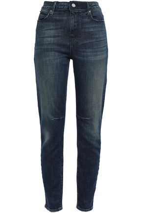 RTA Distressed faded high-rise slim-leg jeans