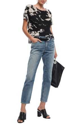 RTA Distressed high-rise straight-leg jeans
