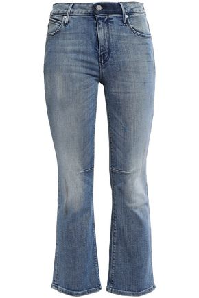 RTA Cropped faded mid-rise bootcut jeans