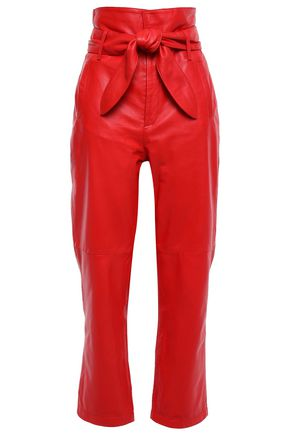 MARISSA WEBB Belted leather straight-leg pants