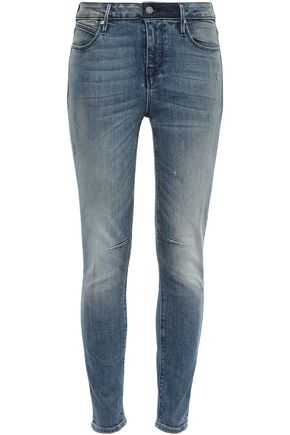 RTA Distressed faded high-rise skinny jeans