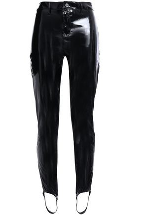 RTA Faux patent-leather stirrup leggings