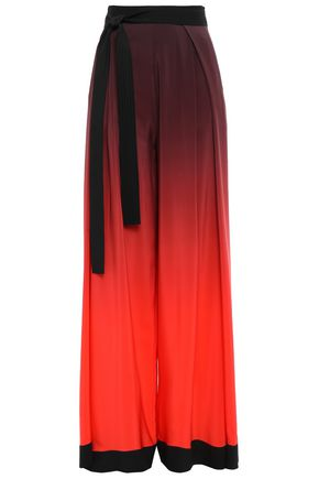 MUGLER Belted pleated silk crepe de chine wide-leg pants