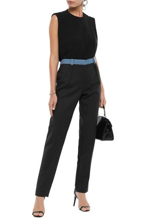 Mugler Pants MUGLER WOMAN TWO-TONE WOOL-TWILL SLIM-LEG PANTS MIDNIGHT BLUE