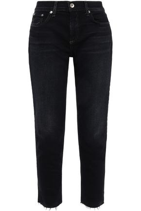 RAG & BONE Ankle Dre cropped distressed mid-rise slim-leg jeans