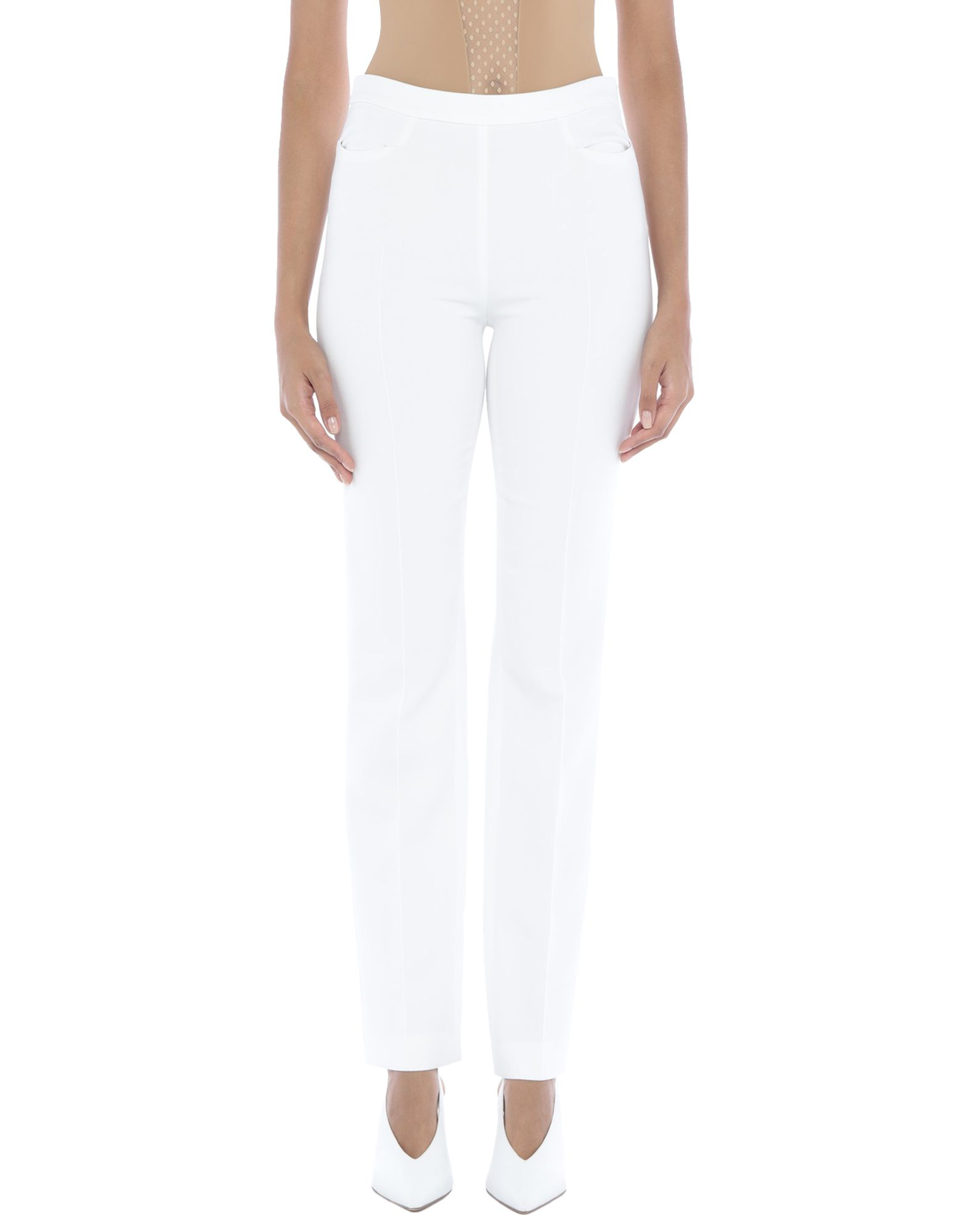 AKRIS PUNTO Casual pants. plain weave, darts, basic solid color, mid rise, regular fit, straight leg, zip, multipockets, stretch. 63% Polyester, 27% Viscose, 7% Cotton, 3% Elastane