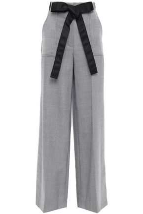 AMANDA WAKELEY Pleated bow-detailed wool wide-leg pants