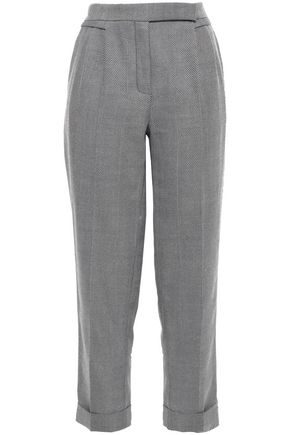 AMANDA WAKELEY Cropped herringbone wool tapered pants